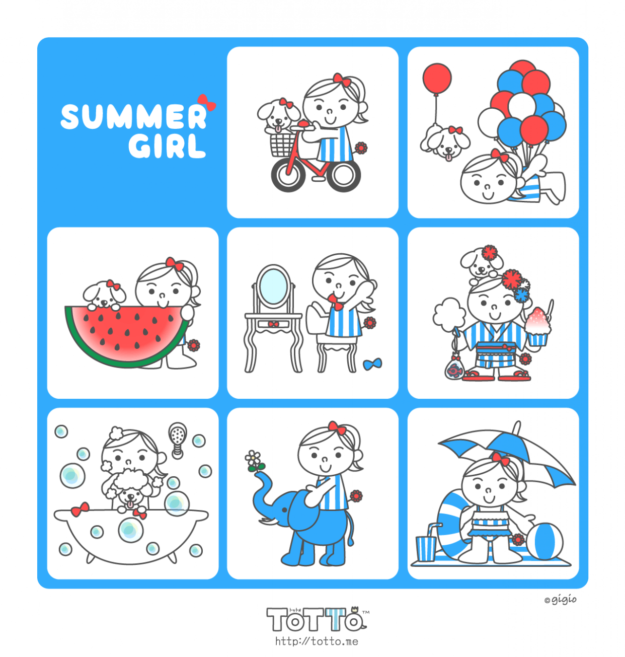 LINE Stickers - SUMMER RIBBON GIRL